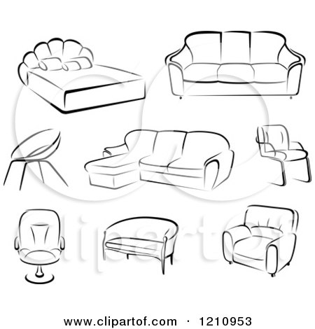 clipart of black and white sketches of furniture - royalty free