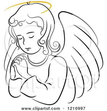 Clipart of a Black and White Praying Angel Girl with a Golden Halo - Royalty Free Vector Illustration by Vector Tradition SM