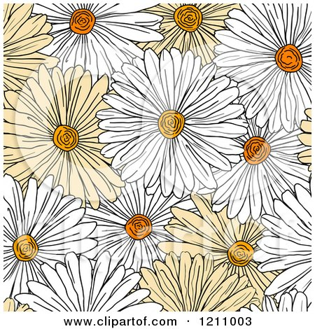 Clipart of a Seamless Yellow and White Daisy Flower Pattern - Royalty Free Vector Illustration by Vector Tradition SM