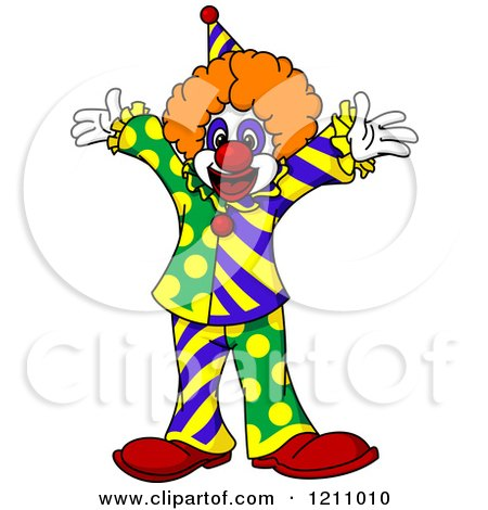 Clipart of a Cheerful Party Clown - Royalty Free Vector Illustration by Vector Tradition SM