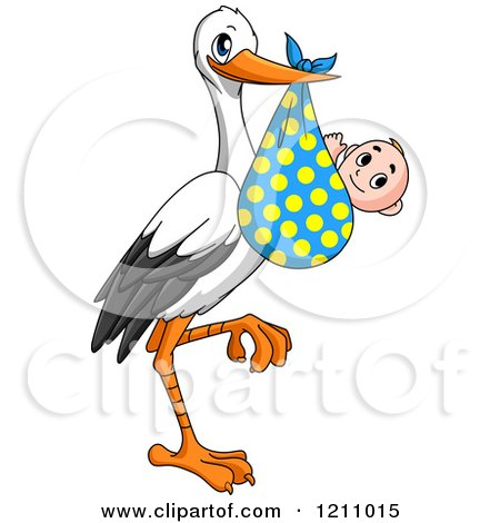 Clipart of a Stork Bird with a Baby in a Polka Dot Bundle - Royalty Free Vector Illustration by Vector Tradition SM
