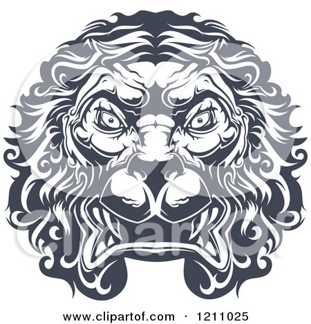 Clipart of a Heraldic Lion Face - Royalty Free Vector Illustration by Vector Tradition SM