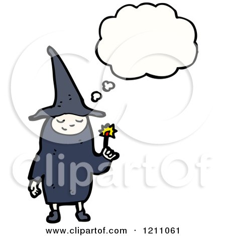 Cartoon of a Child in a Witch Costume Speaking - Royalty Free Vector Illustration by lineartestpilot