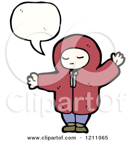 Cartoon of a Child in a Hoodie Speaking - Royalty Free Vector Illustration by lineartestpilot