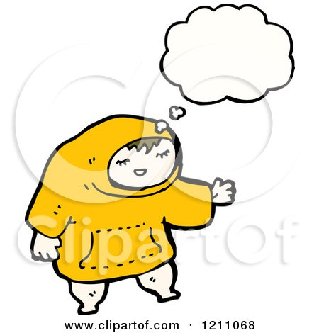 Cartoon of a Child in a Hoodie Thinking - Royalty Free Vector Illustration by lineartestpilot