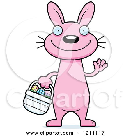 Cartoon of a Waving Slim Pink Easter Bunny - Royalty Free Vector Clipart by Cory Thoman