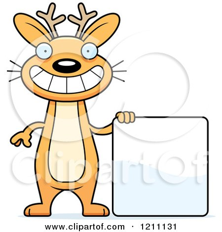 Cartoon of a Happy Slim Jackalope with a Sign - Royalty Free Vector Clipart by Cory Thoman