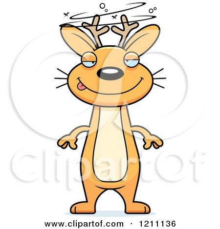 Cartoon of a Drunk Slim Jackalope - Royalty Free Vector Clipart by Cory Thoman