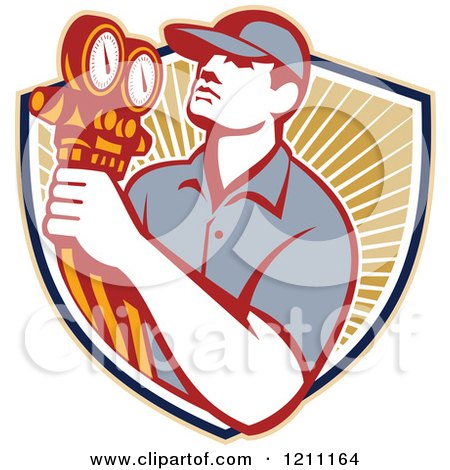 Clipart of a Retro Refrigeration Mechanic Holding Temperature Gauges over a Shield of Rays - Royalty Free Vector Illustration by patrimonio
