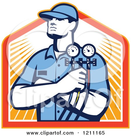 Clipart of a Retro Refrigeration Mechanic Holding Temperature Gauges over Rays - Royalty Free Vector Illustration by patrimonio