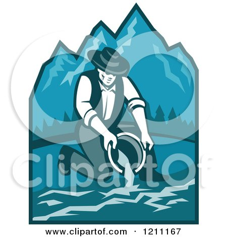 Clipart of a Retro Gold Digger Propector Panning for Gold over Mountains - Royalty Free Vector Illustration by patrimonio