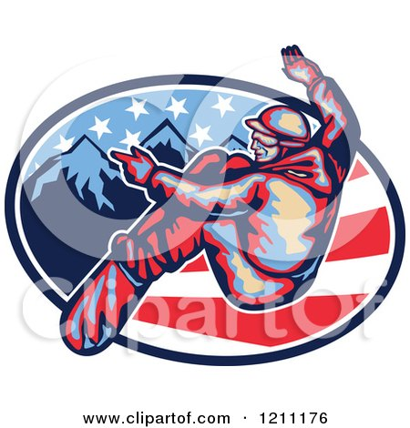 Clipart of a Retro Snowboarder Leaving Stripes over Mountains and American Stars - Royalty Free Vector Illustration by patrimonio