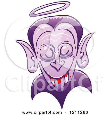 Cartoon of a Dracula Vampire with a Halo and Bloody Fangs - Royalty Free Vector Clipart by Zooco