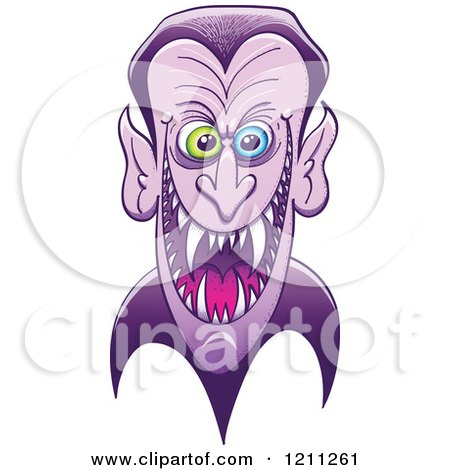 Cartoon of a Grinning Evil Dracula Vampire - Royalty Free Vector Clipart by Zooco