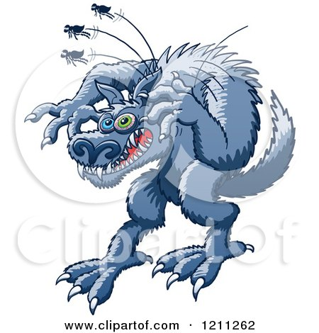 Cartoon of a Werewolf Scratching at Fleas - Royalty Free Vector Clipart by Zooco