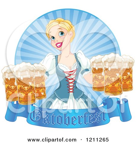 Cartoon of a Happy Blond Oktoberfest Beer Maiden with Pints a Banner and Rays - Royalty Free Vector Clipart by Pushkin
