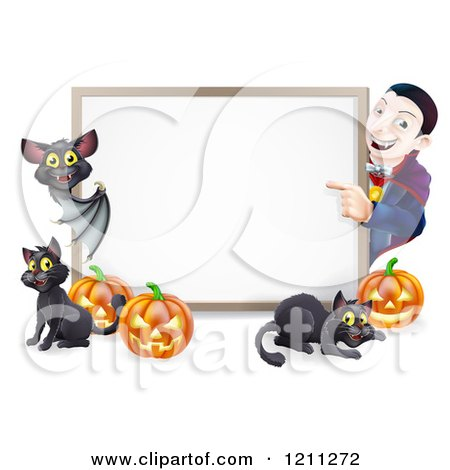 Cartoon of a Happy Vampire with a Bat Cats and Halloween Pumpkins Around a White Sign - Royalty Free Vector Clipart by AtStockIllustration