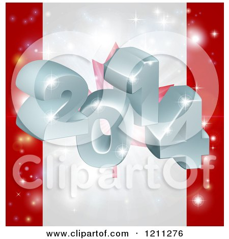Cartoon of a 3d 2014 and Fireworks Over a Canadian Flag - Royalty Free Vector Clipart by AtStockIllustration