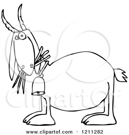 Cartoon of an Outlined Goat Eating Grass and Wearing a Bell - Royalty Free Vector Clipart by djart