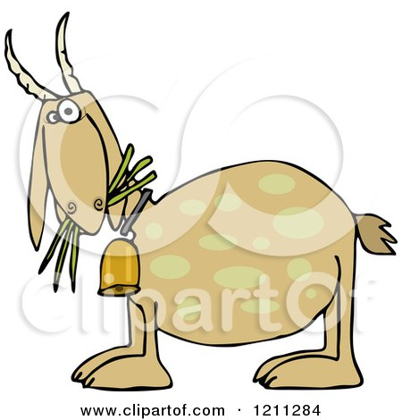 Cartoon of a Tan Goat Eating Grass and Wearing a Bell - Royalty Free Vector Clipart by djart