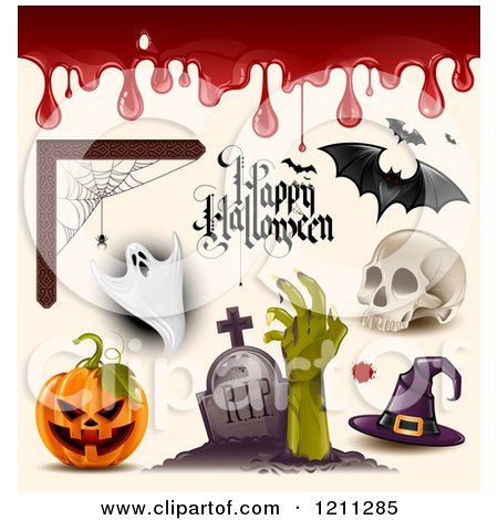 Clipart of a Happy Halloween Greeting with Blood a Spider Web Ghost Bats Skull Witch Hat Zombie and Jackolantern - Royalty Free Vector Illustration by TA Images