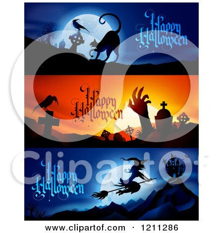 Clipart of Spooky Happy Halloween Website Banners - Royalty Free Vector Illustration by TA Images