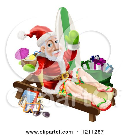 Cartoon of a Relaxing Santa Holding a Cocktail and Waving with Vacation Items and a Bag of Gifts - Royalty Free Vector Clipart by AtStockIllustration