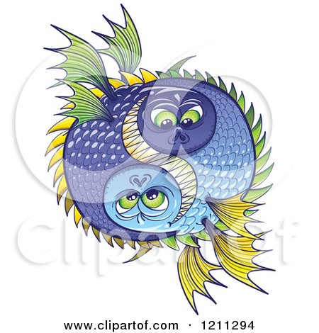 Cartoon of a Halloween or Pisces Fish Yin and Yang - Royalty Free Vector Clipart by Zooco