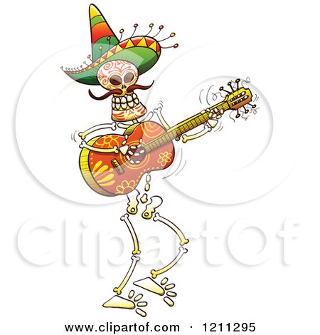 Cartoon of a Mexican Skeleton Guitarist - Royalty Free Vector Clipart by Zooco