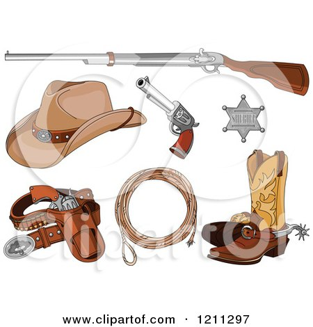 Clipart of a Western Cowboy Revolver Gun and Bullets in a ...