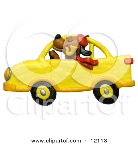 dog with hat, pipe and scarf, driving a yellow car  Posters, Art Prints
