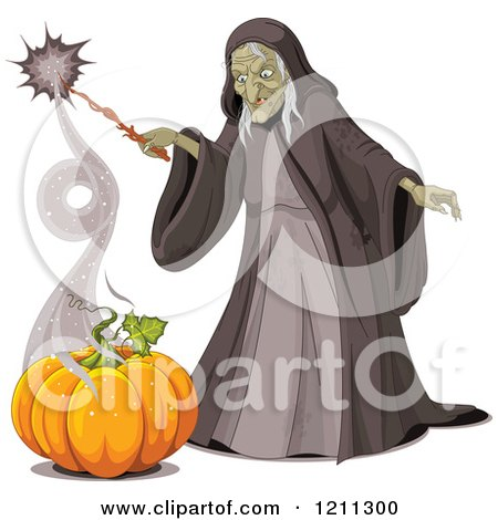 Cartoon of an Ugly Halloween Witch Creating a Pumpkin with a Spell - Royalty Free Vector Clipart by Pushkin