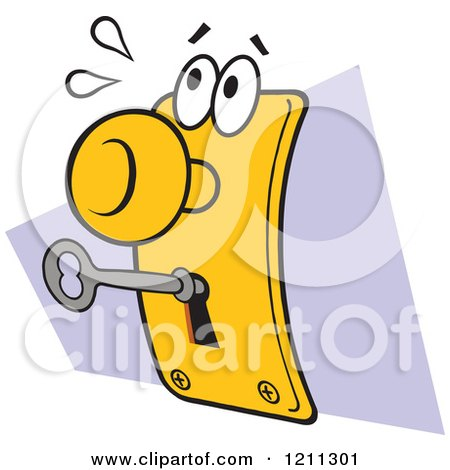 Cartoon of a Disturbed Lock and Key - Royalty Free Vector Clipart by Johnny Sajem