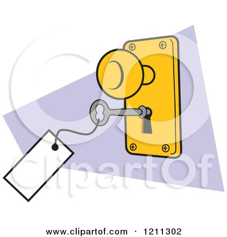 Cartoon of a Lock and Key with a Tag - Royalty Free Vector Clipart by Johnny Sajem