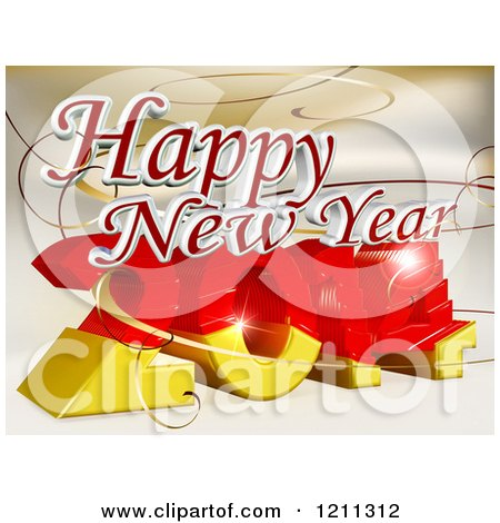 Clipart of a 3d Happy New Year Greeting over 2014 - Royalty Free CGI Illustration by MacX