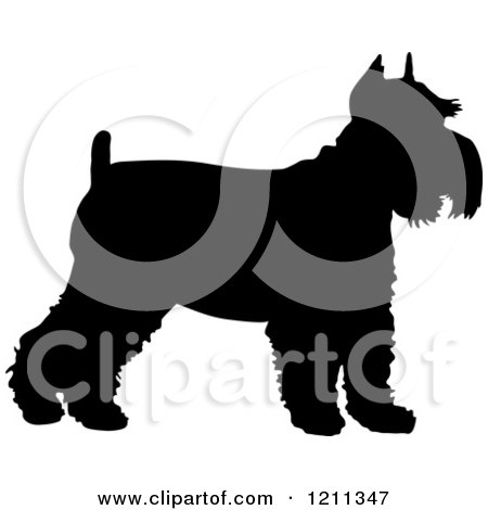 Clipart of a Black Silhouetted Schnauzer Dog in Profile - Royalty Free Vector Illustration by Maria Bell