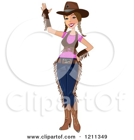 Cartoon of a Friendly Cowgirl Waving - Royalty Free Vector Clipart by peachidesigns