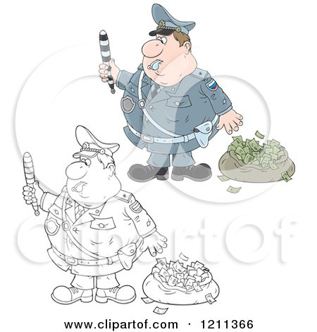 Cartoon of an Outlined and Colored Police Officer Waving a Baton by a Bag of Money After Chasing Away a Robber - Royalty Free Vector Clipart by Alex Bannykh