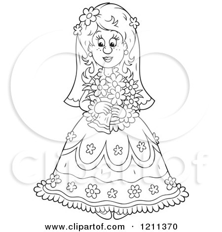 Cartoon of an Outlined Beautiful Bride with Her Bouquet - Royalty Free Vector Clipart by Alex Bannykh