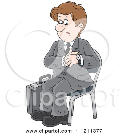 Cartoon of a Businessman Checking His Watch and Waiting for an Appointment - Royalty Free Vector Clipart by Alex Bannykh