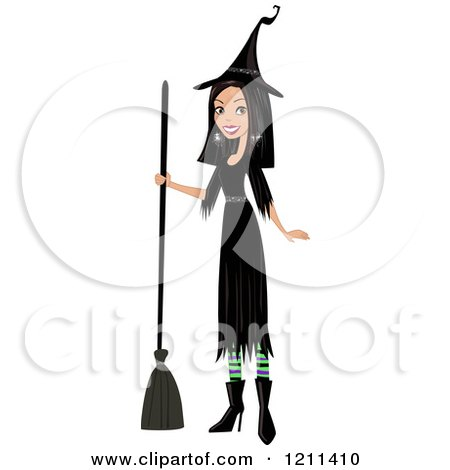 Cartoon of a Pretty Black Haired Witch Holding a Broom - Royalty Free Vector Clipart by peachidesigns