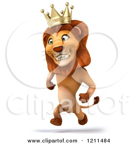 Clipart of a 3d Lion King Running - Royalty Free CGI Illustration by Julos