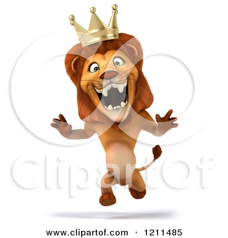 Clipart of a 3d Lion King Running 2 - Royalty Free CGI Illustration by Julos