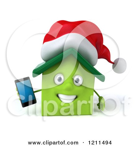 Clipart of a 3d Christmas Green Home Mascot Holding a Cell Phone - Royalty Free CGI Illustration by Julos