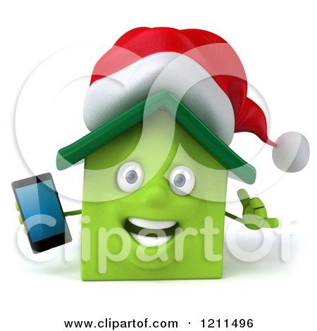 Clipart of a 3d Christmas Green Home Mascot Holding a Cell Phone 2 - Royalty Free CGI Illustration by Julos