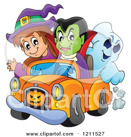 Cartoon of a Halloween Witch Vampire and Ghost Riding in a Pickup Truck - Royalty Free Vector Clipart by visekart