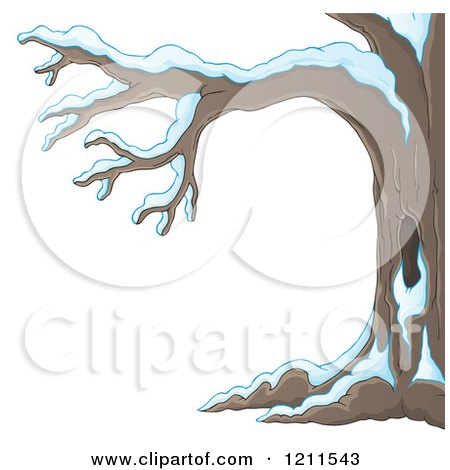Cartoon of a Winter Tree Flocked in Snow - Royalty Free Vector Clipart by visekart