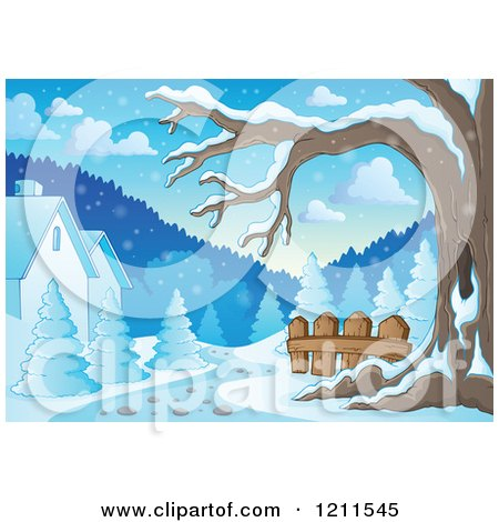 Cartoon of a Winter Tree and Snow with Houses and a Path - Royalty Free Vector Clipart by visekart