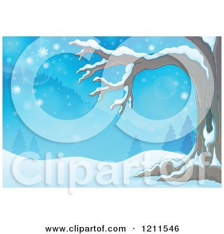Cartoon of a Winter Tree in a Snowy Landscape - Royalty Free Vector Clipart by visekart