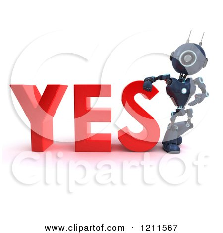 Clipart of a 3d Blue Android Robot Leaning on YES - Royalty Free CGI Illustration by KJ Pargeter